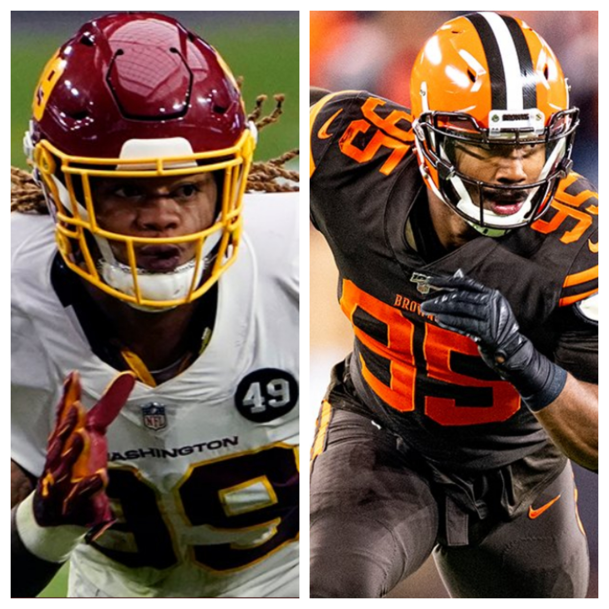Chase Young vs Myles Garrett Stats Comparison   Career Side by ...